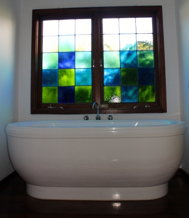 Stained Glass Window in Bathroom