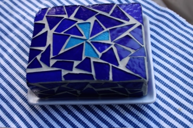 Mosaic Glass Butter Dish