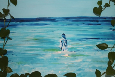 Acrylic Seascape with Vine Frame